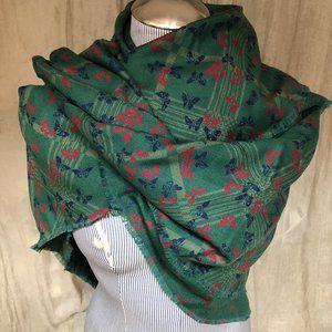Bottega Veneta green red butterfly print shawl woo
